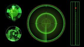 Зеленый, футуристический радиолокатор иллюстрация штока