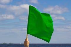 Зеленый флаг развевая на небе Стоковые Изображения RF