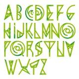 Зеленый флористический шрифт алфавита Стоковые Изображения