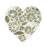 Зеленый флористический элемент формы сердца Иллюстрация штока