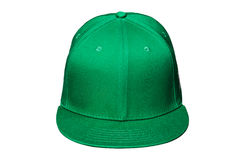 Зеленый цвет бейсбольной кепки, на изолированной белой предпосылке Стоковое Изображение RF