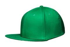 Зеленый цвет бейсбольной кепки, на изолированной белой предпосылке Стоковое фото RF