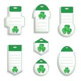 Зеленый цвет бумаги ярлыка 3D shamrock дня ` s StPatrick белый Стоковые Изображения