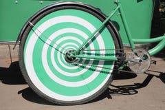 Зеленый цвет велосипеда зада колеса. Стоковое Изображение