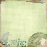 Зеленый цвет взгляда Grunge несенный предпосылкой и стиль Арт Деко богемца птиц Стоковые Фото