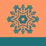 Зеленый цвет винтажной картины мандалы вектора ретро на апельсине Нарисованная рукой абстрактная крышка flayer декоративная карти Стоковая Фотография RF