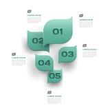 Зеленый цвет выходит абстрактная предпосылка - 3d бумажный дизайн infographics Стоковые Фотографии RF