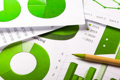 Зеленый цвет диаграмм дела Стоковые Изображения RF