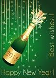 Зеленый цвет и поздравительная открытка Шампаря золота Стоковая Фотография