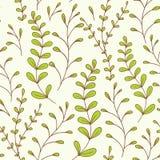 Зеленый цвет картины причудливых листьев безшовный Стоковые Изображения