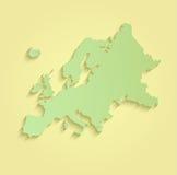 Зеленый цвет карты Европы желтый Стоковые Изображения RF