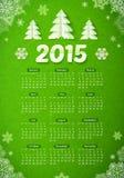 Зеленый цвет календарь 2015 Новых Годов с бумажным рождеством иллюстрация штока