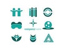 Зеленый цвет комплекта элементов логотипа Стоковые Фото