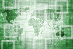 Зеленый цвет концепции запачкал карту мира с бинарным кодом Стоковое Фото