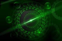 Зеленый цвет космических кораблей летает в космос, абстрактную иллюстрацию предпосылки Стоковое Изображение RF