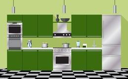 Зеленый цвет мебели и приборов кухни Стоковые Фото