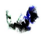 Зеленый цвет нашлепки пятна макроса, синь, черная текстура Стоковое фото RF