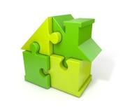 Зеленый цвет дома головоломки иллюстрация штока