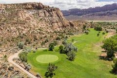 Зеленый цвет поля для гольфа Moab 4-ый Стоковое Изображение