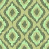Зеленый цвет предпосылки картины красочного диаманта ikat ткани безшовный Мята хаки вектор Стоковые Изображения RF