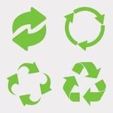 Зеленый цвет рециркулирует комплект значка Стоковые Изображения