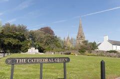 Зеленый цвет собора Llandaff, Уэльс, Великобритания Стоковая Фотография