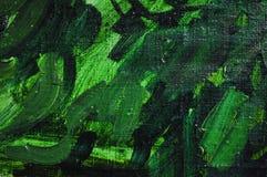 Зеленый цвет текстуры холста крася Стоковая Фотография