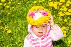 зеленый цвет травы девушки одуванчиков Стоковое Фото