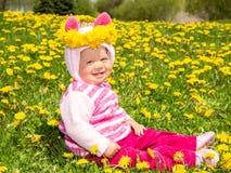 зеленый цвет травы девушки одуванчиков Стоковая Фотография