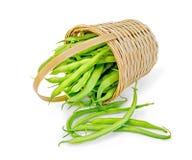 Зеленый цвет фасолей в корзине Стоковое Фото