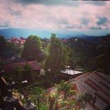 Зеленый цвет холмов munduk деревни Бали стоковые фотографии rf