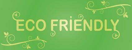 Зеленый цвет ярлыка Eco содружественный с листьями Стоковое Фото