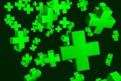 зеленый цвет 3D пересекает предпосылку Стоковое фото RF