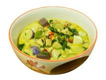 Зеленый цыпленок карри в молоке кокоса Стоковые Изображения RF
