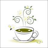 Зеленый чай с значком жасмина Стоковое Изображение RF