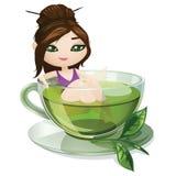 зеленый чай иллюстрация вектора
