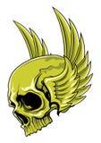 Зеленый череп с крылами Стоковое Изображение