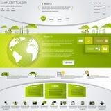 Зеленый шаблон вебсайта Eco при установленные значки. Стоковые Изображения