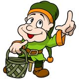 Зеленый эльф держа корзину Стоковая Фотография RF