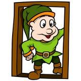Зеленый эльф на двери Стоковая Фотография RF