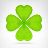 Зеленый cloverleaf изолированный на белизне Стоковые Фотографии RF
