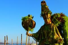 Зеленый Masquerader в Венеции Стоковое Фото