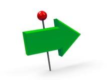 Зеленый pushpin стрелки Стоковое фото RF