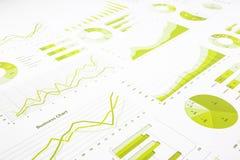 Зеленый re диаграмм, диаграмм, исследований в области маркетинга и ежегодника дела Стоковое Изображение RF