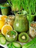 Зеленый smoothie сделанный из шпината, кивиа, огурца, лимона и мяты с семенами для здорового питания Стоковая Фотография RF
