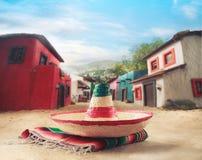 зеленым sombrero изолированный шлемом мексиканский Стоковые Изображения RF