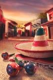 зеленым sombrero изолированный шлемом мексиканский Стоковое Изображение RF