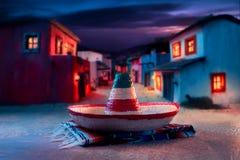 зеленым sombrero изолированный шлемом мексиканский Стоковая Фотография