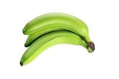 3 зеленых банана изолированного на белой предпосылке отсутствие тени Стоковое Изображение RF