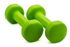 2 зеленых гантели Стоковые Изображения